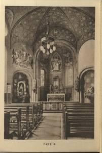 Das Bild zeigt eine Innenansicht der Kapelle der Hüfferstiftung in den 1930er Jahren