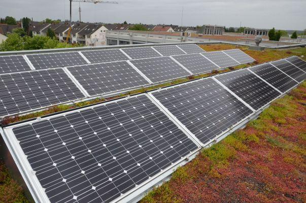 Die neue Solaranlage – umgeben von Dachbegrünung – ist größer, moderner und bietet die Möglichkeit, in der Lehre gezielt Verschaltungsfehler zu simulieren. (Foto: FH Münster/Pressestelle)