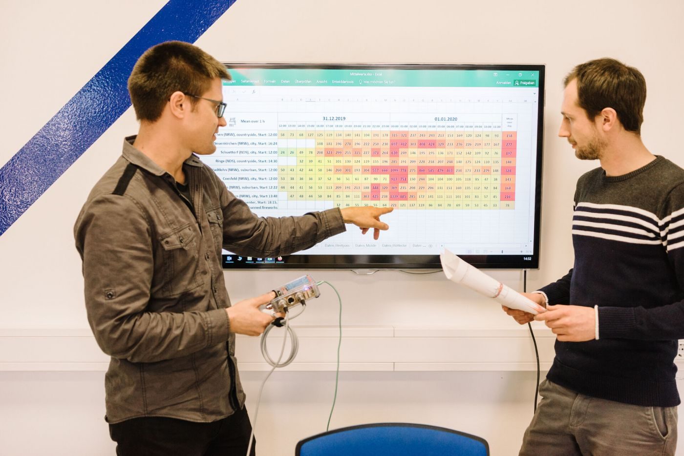 Zwei Männer vor einem Bildschirm, auf dem Feinstaubwerte stehen.